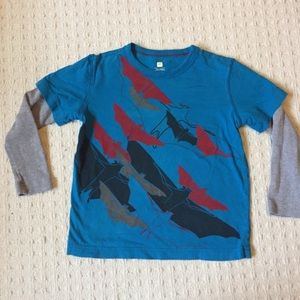 Tea collection Bat T-shirt with waffle sleeves.